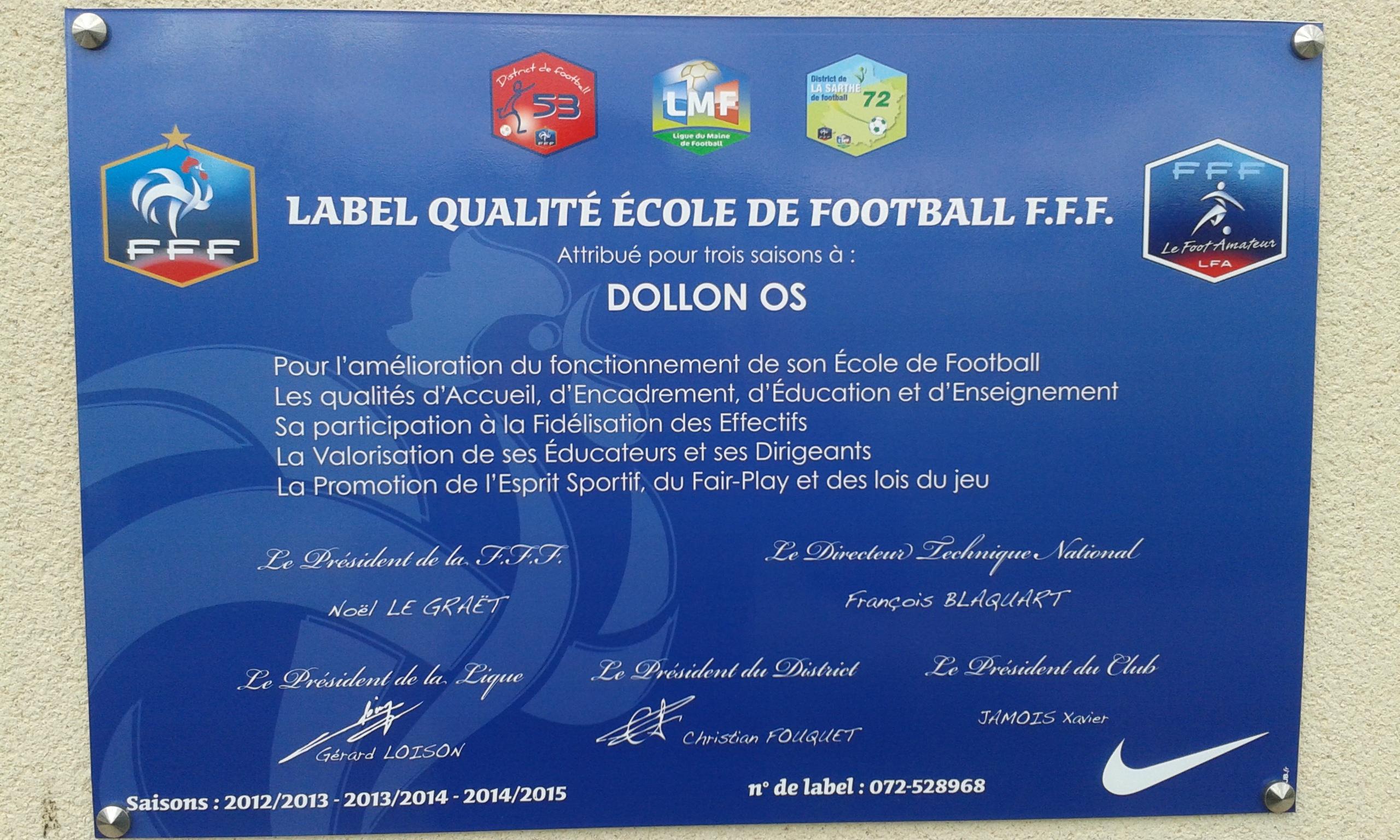 label ecole de foot